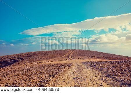 Mountain Desert Nature Landscape. Desert On A Sunny Day. Judean Desert. The Nature Of Israel