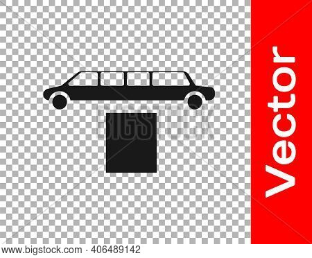 Black Luxury Limousine Car And Carpet Icon Isolated On Transparent Background. For World Premiere Ce