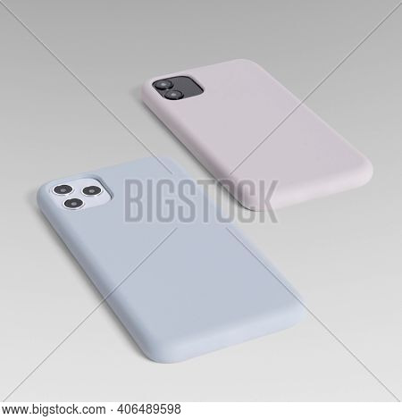 Mobile phone case mockup product showcase back view