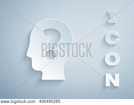 Paper Cut Human Head With Question Mark Icon Isolated On Grey Background. Paper Art Style. Vector
