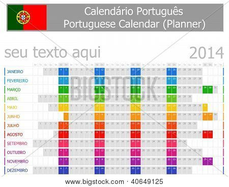 2014 Portugese Planner Calendar With Horizontal Months
