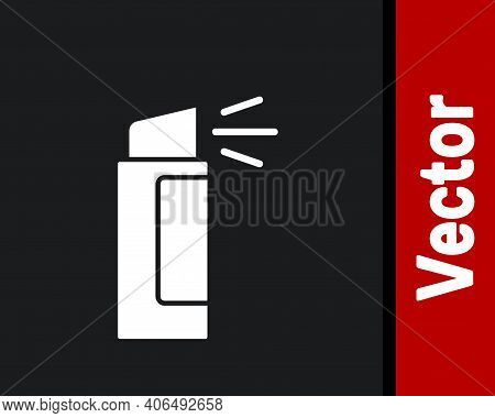 White Pepper Spray Icon Isolated On Black Background. Oc Gas. Capsicum Self Defense Aerosol. Vector
