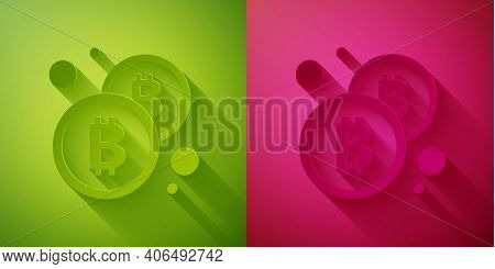 Paper Cut Cryptocurrency Coin Bitcoin Icon Isolated On Green And Pink Background. Physical Bit Coin.