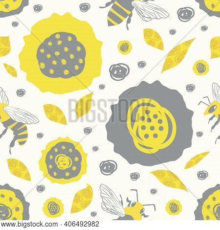 Vector Scribbled Abstract Flowers And Textured Leaves. Seamless Duotone Pattern Background. Hand Dra