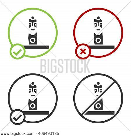 Black Slavic Pagan Idol Icon Isolated On White Background. Antique Ritual Wooden Idol. Circle Button