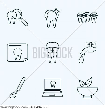 Enamel Icons Line Style Set With Inspect Tooth, Healthy Food, Dental Mirror And Other Instrument Ele