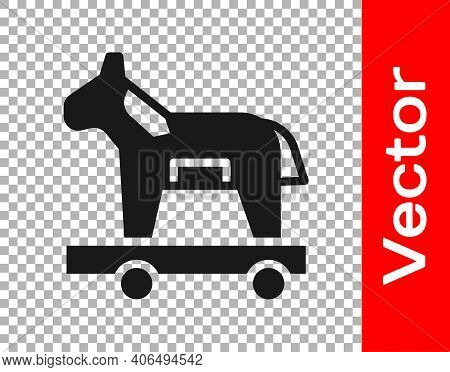 Black Trojan Horse Icon Isolated On Transparent Background. Vector