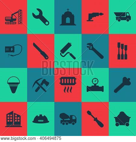 Industrial Icons Set With Turn-screw, Construction Helmet, Temple And Other Sharp Elements. Isolated