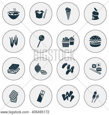 Snacks Icons Set With Lollipop, Chocolate Bar, Marshmallow On Sticks And Other Wafer Elements. Isola