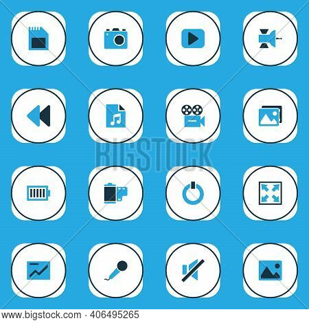 Multimedia Icons Colored Set With Karaoke, Rewind, Sd Card And Other Gallery Elements. Isolated Vect