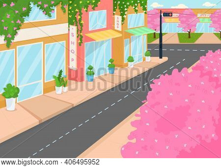 Blooming City Flat Color Vector Illustration. Street With Lots Of Houses And Flowering Trees. Beauti
