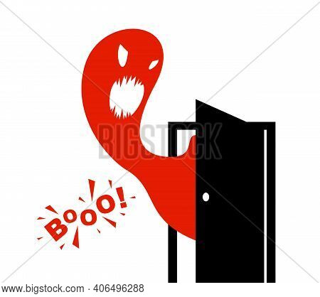 Nightmare Monster Comes Into Dark Room Bedroom Vector Stylish Illustration, Funny Cartoon Ghost Crea