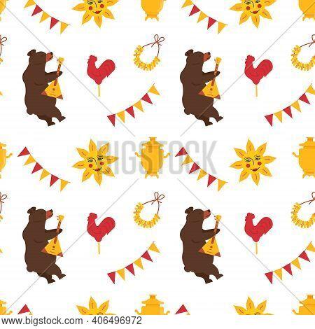 Seamless Pattern For Maslenitsa Pancake Week. A Bear Playing On Balalaika. Samovar, Folk Ethnic Sun,