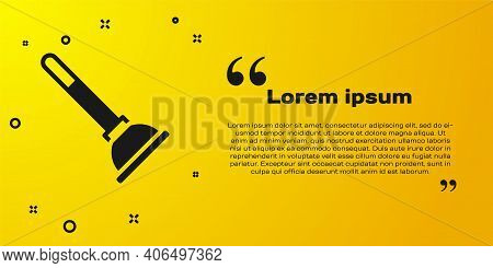 Black Rubber Plunger With Wooden Handle For Pipe Cleaning Icon Isolated On Yellow Background. Toilet