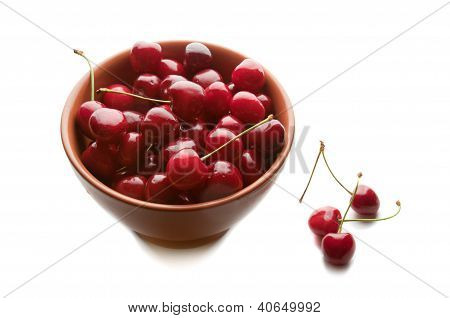 Sweet cherries in ceramic ware