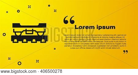 Black Cargo Train Wagon Icon Isolated On Yellow Background. Freight Car. Railroad Transportation. Ve