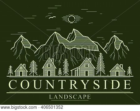 Rural Village In Mountain Range And Pine Woods Linear Vector Emblem On Dark, Wooden Houses In Trees