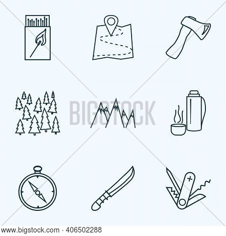 Tourism Icons Line Style Set With Hunting Knife, Thermos, Forest And Other Navigation Elements. Isol
