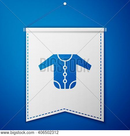Blue Baby Clothes Icon Isolated On Blue Background. Baby Clothing For Baby Girl And Boy. Baby Bodysu