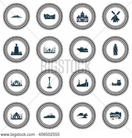 Culture Icons Set With Space Needle, Acropolis, Minaret And Other Mountain Elements. Isolated Illust
