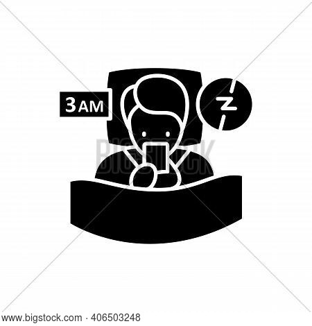 Difficulty Falling Asleep Glyph Icon. Insomnia. Sleep Disorder. Healthy Sleeping Concept. Sleep Prob