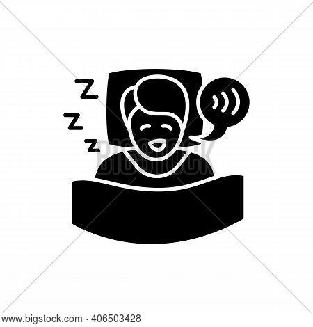 Sleep Talking Glyph Icon. Sleep Disorder. Healthy Sleeping Concept. Sleep Problems Treatment. Dyssom