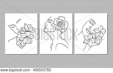 Set Of Three Portrait, Face With Flower. Simple, Minimalist Vector Illustration Of Beautiful Woman.