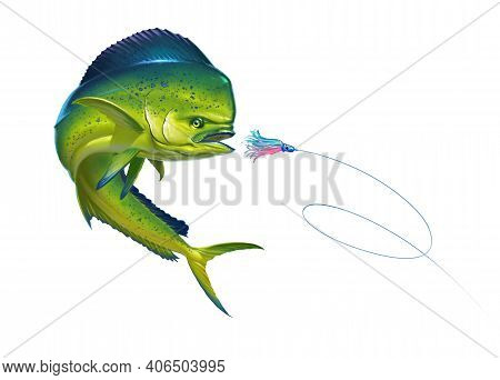 Mahi Mahi Or Dolphin Fish On White Bait Sea Octopus Skirt. Realistic Illustration Of Mahi-mahi Or Do