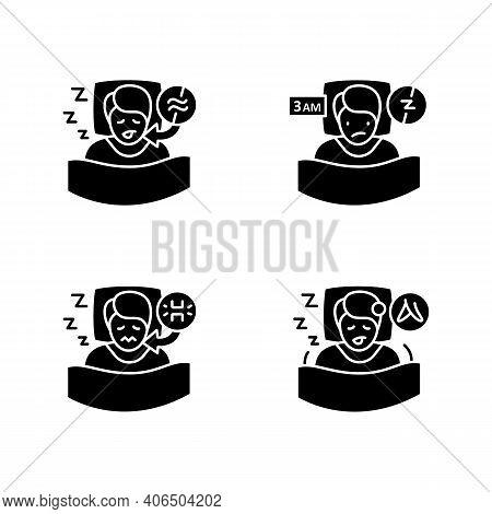 Sleep Disorder Glyph Icons Set. Healthy Sleeping Concept. Symptoms And Types Disorders Sleep. Fallin