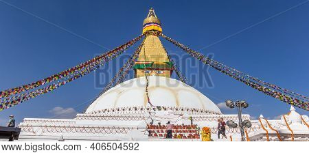 Kathmandu, Nepal - November 14, 2019: Panorama Of The Boudhanath Stupa In Kathmandu, Nepal