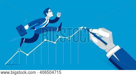 Business Man Run And Hurry On Growth Chart Graph Vector Illustration, Funny Comic Cute Cartoon Accou