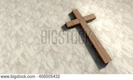 Concept or conceptual wooden cross on a pattern white marble background. 3d illustration metaphor for God, Christ, Christianity, religious, faith, holy, spiritual, Jesus, belief or resurection