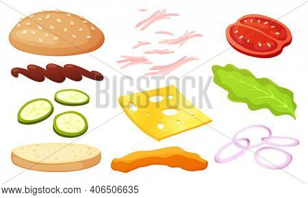 Burger ingredients diy collection. Set of isolated ingredients for build your own burger and sandwich. Sliced vegetables, sauces, bun and cutlet for burger. burger maker