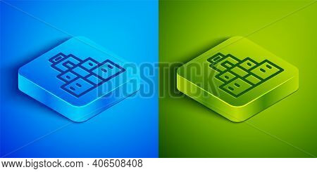Isometric Line Chichen Itza In Mayan Icon Isolated On Blue And Green Background. Ancient Mayan Pyram
