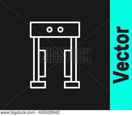 White Line Metal Detector Icon Isolated On Black Background. Airport Security Guard On Metal Detecto