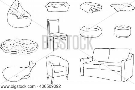Set, Collection Of Hand Drawn Cosy Soft Places. Outlines. Vector Illustration.