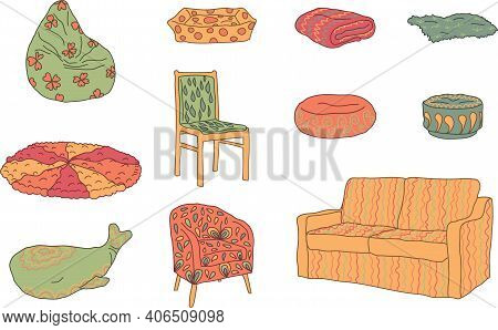 Set, Collection Of Hand Drawn Cosy Soft Places. Colored Outlined With Decorations. Vector Illustrati