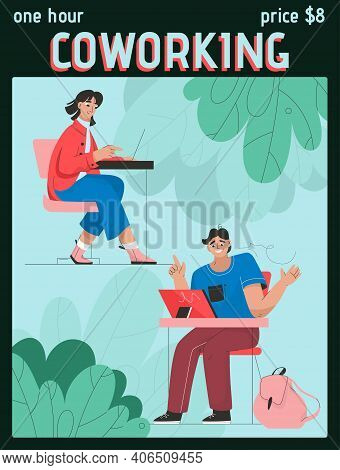 Vector Poster Of One Hour Coworking Concept