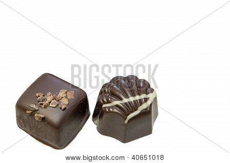 Dark Chocolate Square And Scallop Shaped