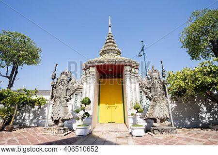 Amazing Temple In Bangkok, Beautiful Wat Pho Buddhist Temple.