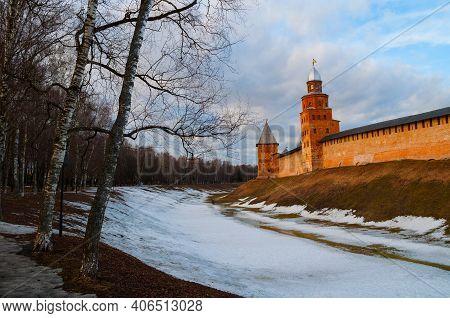Veliky Novgorod, Russia, Kremlin Fortress, Early Spring View. Veliky Novgorod Kremlin Fortress In Sp