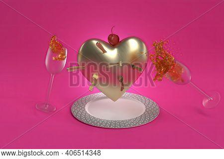 Valentine Dinner Gold Heart In A Plate, 3d Render