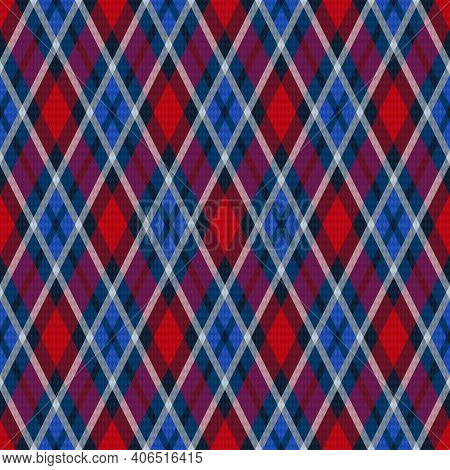 Seamless Rhombic Illustration Muted Pattern As A Tartan Plaid In Blue, Violet And Red Hues, Texture