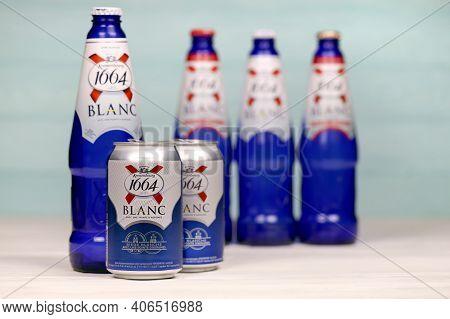 Kharkov, Ukraine - December 8, 2020: Blanc Logo On Beer Bottles On White Table. 1664 Blanc Is The Wh