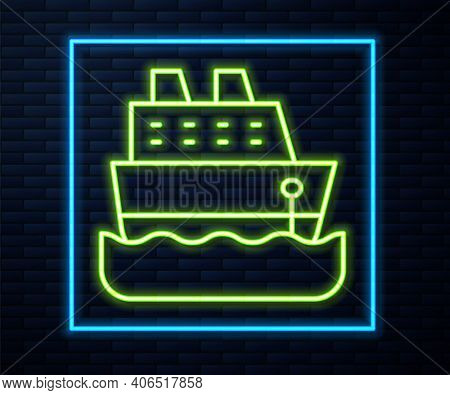 Glowing Neon Line Cruise Ship Icon Isolated On Brick Wall Background. Travel Tourism Nautical Transp