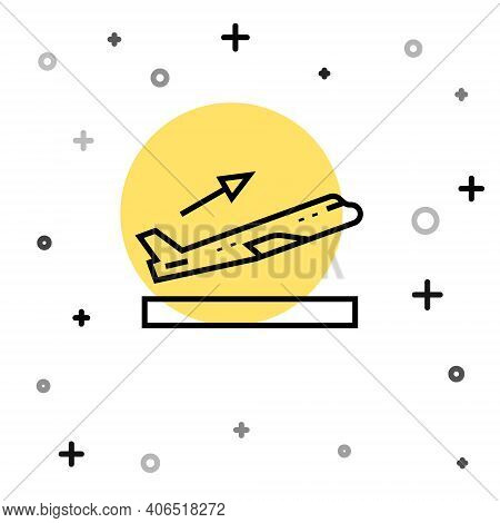 Black Line Plane Takeoff Icon Isolated On White Background. Airplane Transport Symbol. Random Dynami