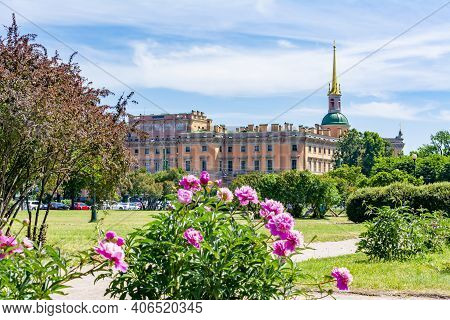Saint Michael's Castle (mikhailovsky Castle Or Engineers' Castle) And Field Of Mars In Spring, St. P