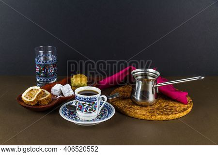 Turkish Coffee With Baclava And Delight.