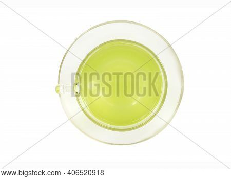Glass Of Lemon Grass Juice Isolated On White Background, Herb And Medical For Health Concept