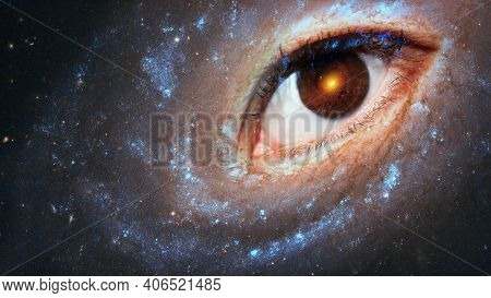 The Eye Of The Clairvoyant In Space Against The Background Of The Starry Sky, The Galaxy In The Pupi